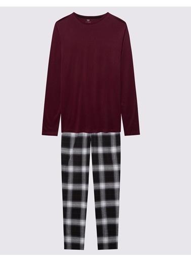 Marks & Spencer Pamuklu Ekose Pijama Takımı Siyah
